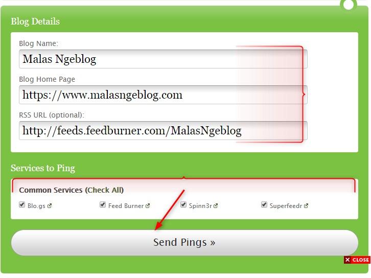 Ping Blog baru di situs http://pingomatic.com