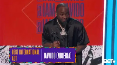 Davido Wins 2018 BET Best International Act Award , Sends His Condolences To D'banj During BET Award Speech