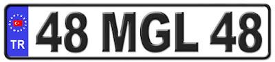 Muğla il isminin kısaltma harflerinden oluşan 48 MGL 48 kodlu Muğla plaka örneği