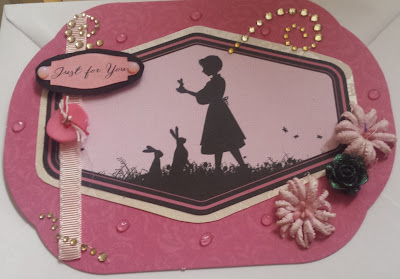 Just for you - girl in silhouette shaped pink card