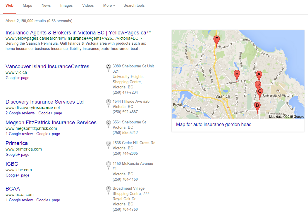 Old Google Local Search Result