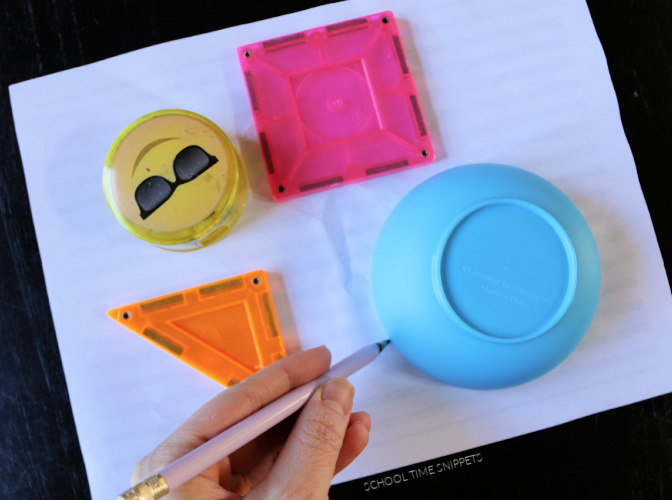 tracing shapes to create easy op art for kids project