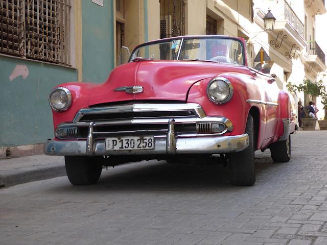 Pink vintage car in Havana, Cuba