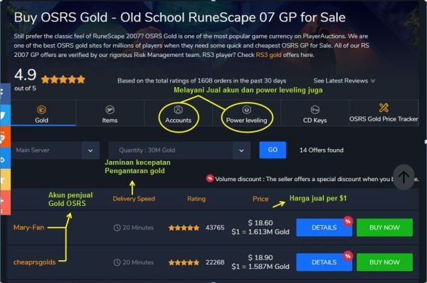 playerauction cara aman jual gold osrs