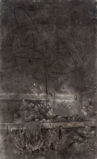 Matthew Monahan Pipe Dream, 2001 charcoal on paper and canvas, framed 178 x 112 x 6 cm