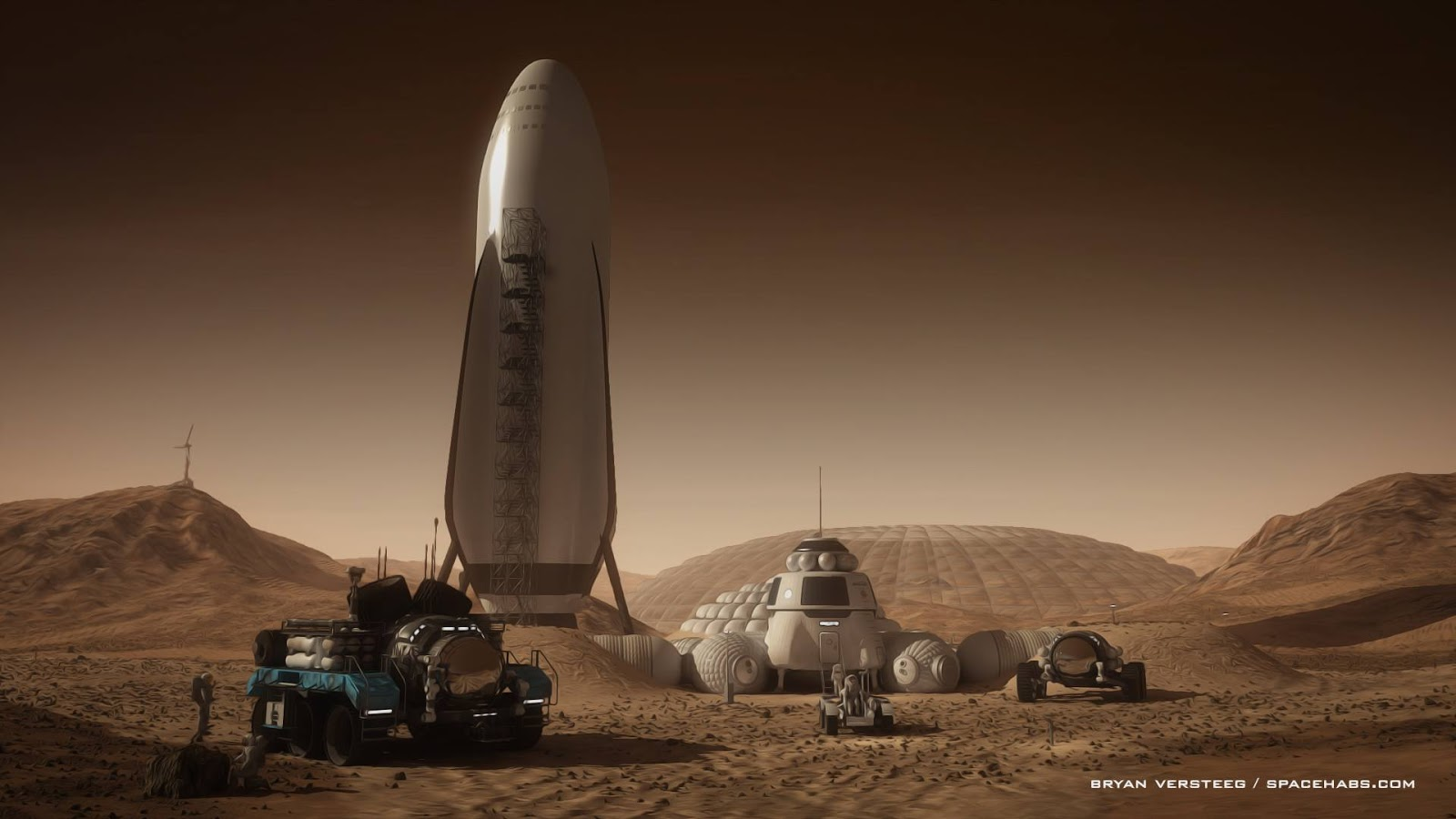 Human Mars Spacex Spaceship At Mars Base By Bryan Versteeg