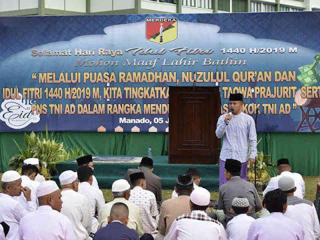 Kodam Merdeka Selenggarakan Shalat Idul Fitri 1440 Hijirah di Halaman Makodam