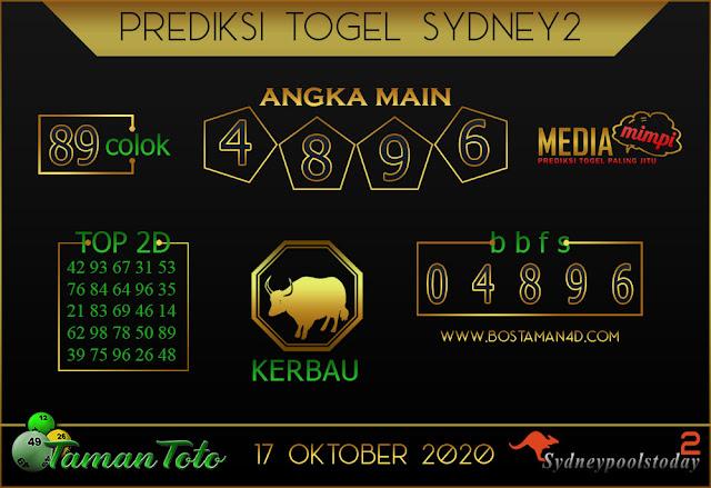 Prediksi Togel SYDNEY 2 TAMAN TOTO 17 OKTOBER 2020