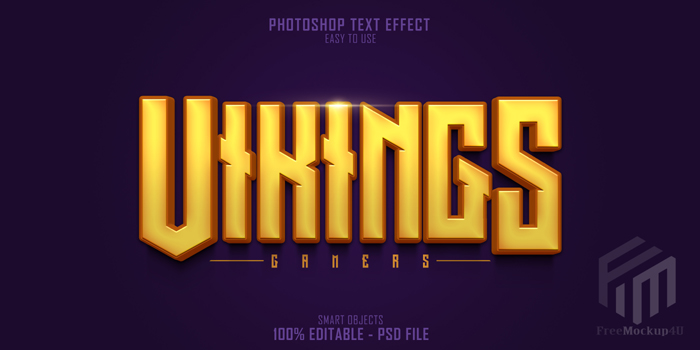 Vikings Gamers 3D Text Style effect Template
