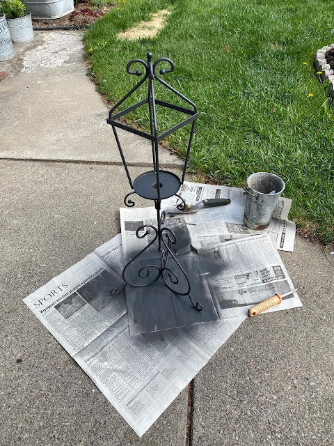 Photo of spray painted candleholder