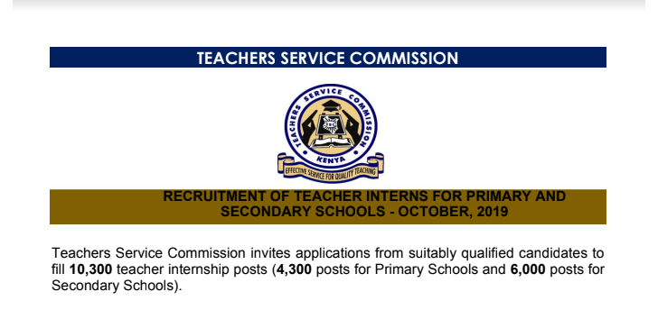 TSC Internship jobs online for primary and secondary school (2019)