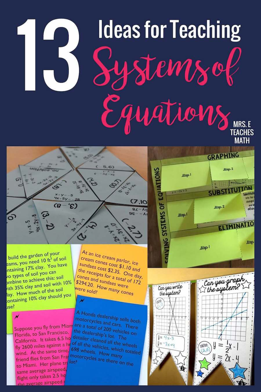 13 Engaging Ideas for Teaching Systems of Equations | Mrs  E