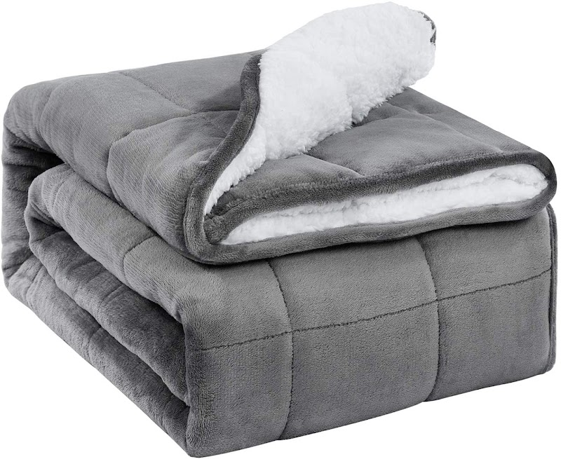 """30% OFF  BUZIO 60""""x 80"""" 15 lbs Sherpa Fleece Weighted Blanket for Adult"""