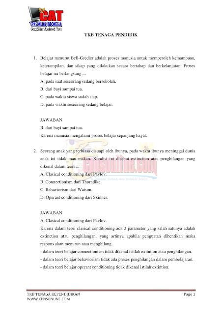 Latihan Soal Tes CPNS SKB Guru SD 2021
