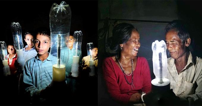 လျှပ်စစ်မီးမရသေးသူများ ပလက်စတစ်ဘူးခွံတွေသုံးပီး မီးထွန်းနိုင်