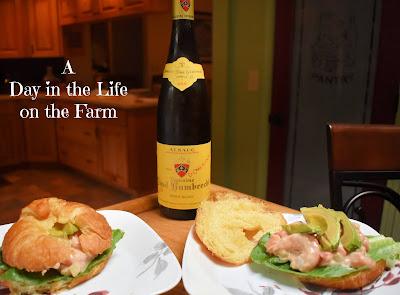 Shrimp Louis Sandwiches and wine