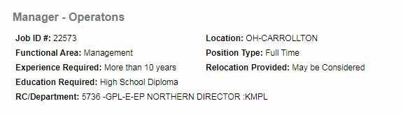 Manager Operations required in IKinder Morgan Carrollton, Canada 2021