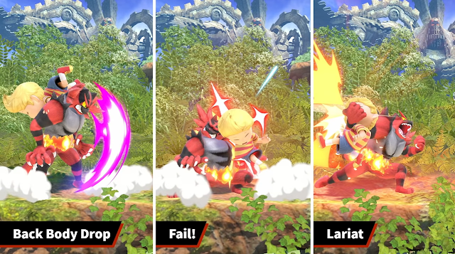 Incineroar Super Smash Bros. Ultimate run the ropes back body drop fail lariat Lucas
