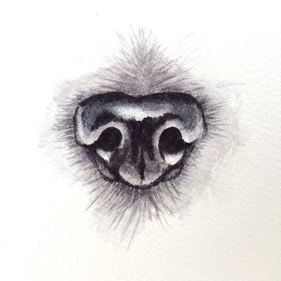 black dog nose watercolor tutorial with Rebecca Rhodes