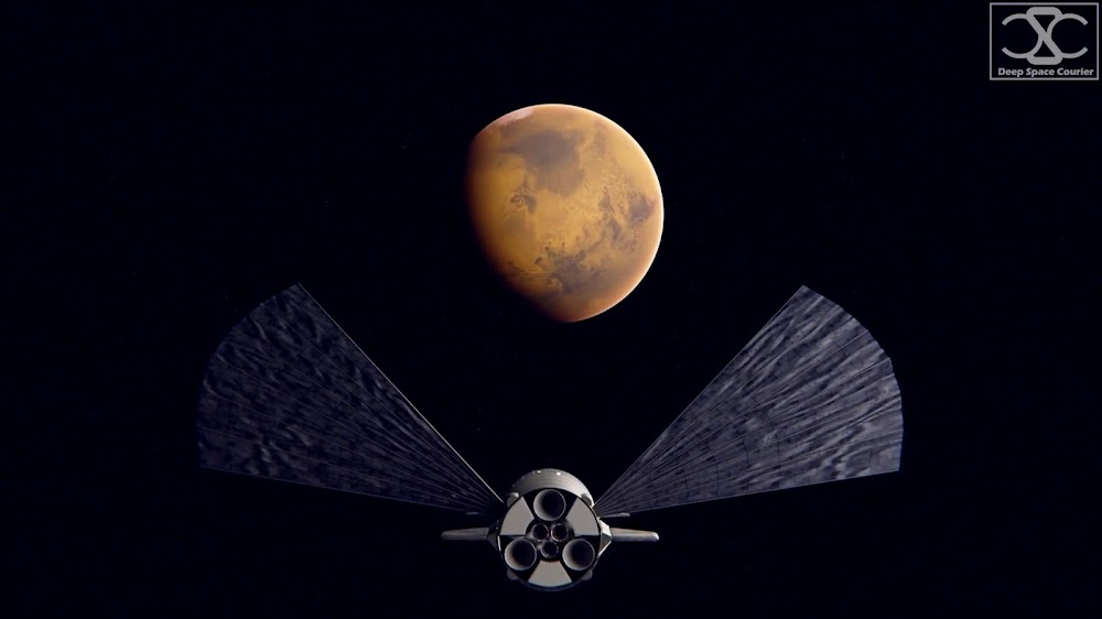 SpaceX's Starship approaching Mars by DeepSpaceCourier