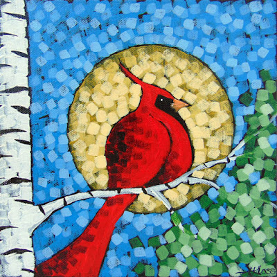A Light for the night acrylic painting by artist aaron kloss, painting of a cardinal moon, cardinal and birch, moon and cardinal, square painting, pointillism