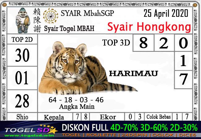 Prediksi Togel Hongkong Minggu 26 April 2020 - Syair Mbah HK