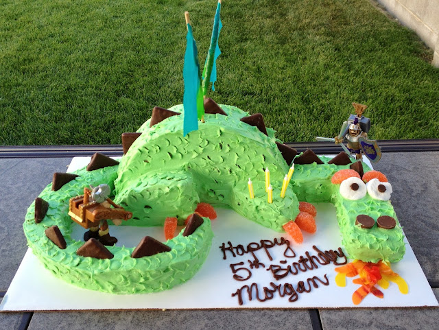 Fire breathing dragon birthday cake - finished project