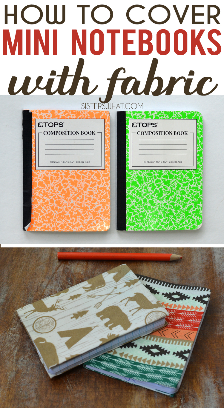 how to cover mini notebooks with fabric using modge podge