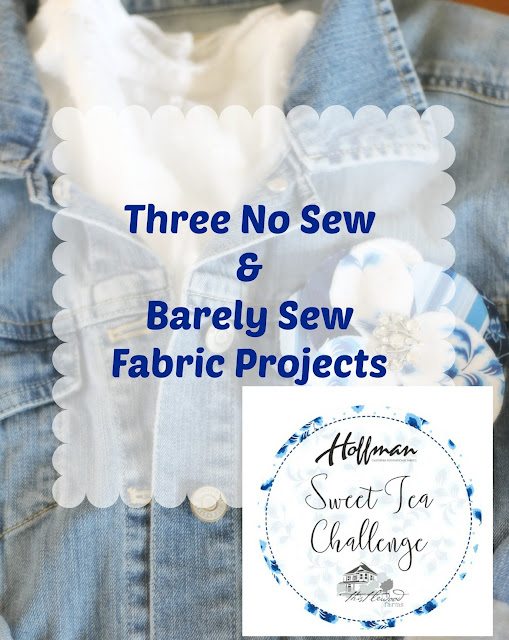 three no sew and barely sew projects using Sweet Tea Fabric line, fabric flower, monogram, bookmark, Hoffman fabrics, sweet tea, Thistlewood Farms