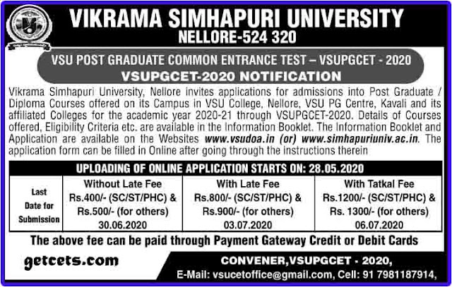 VSU PGCET notification 2021-2022, vsu pg entrance online apply