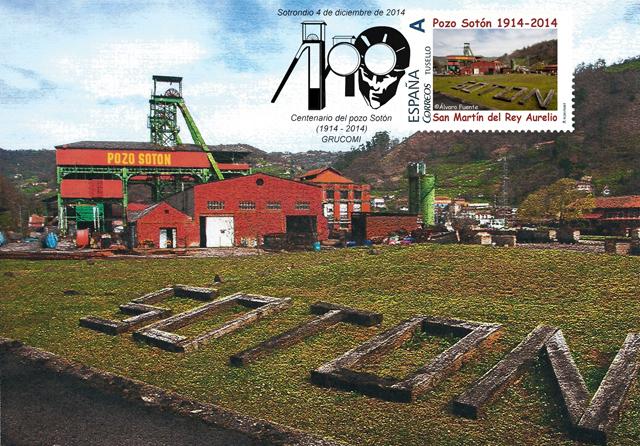 Tarjeta con sello personalizado y matasellos de Grucomi del Centenario del Pozo Sotón, Alvaro Fuente