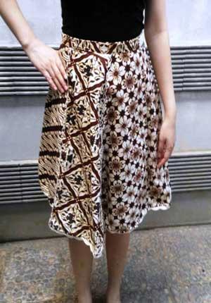 Model rok batik pendek midi