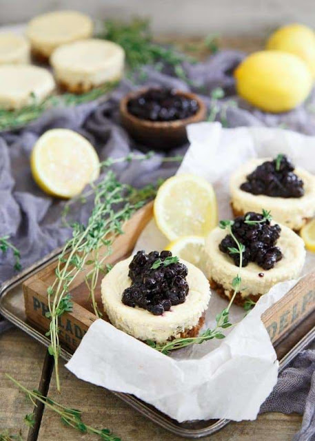 Lemon Thyme Blueberry Mini Cheesecakes | Image courtesy of Running to the Kitchen