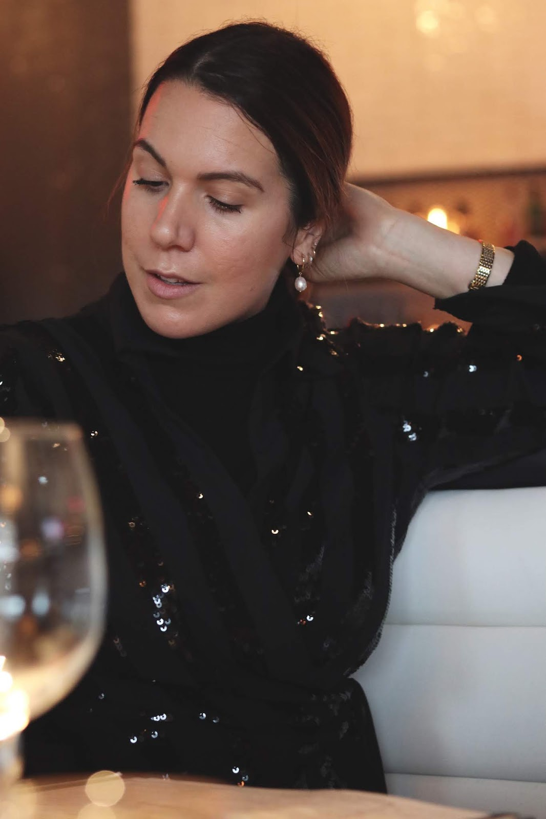 le chateau sequin blouse festive party nye outfit idea vancouver blogger aleesha harris