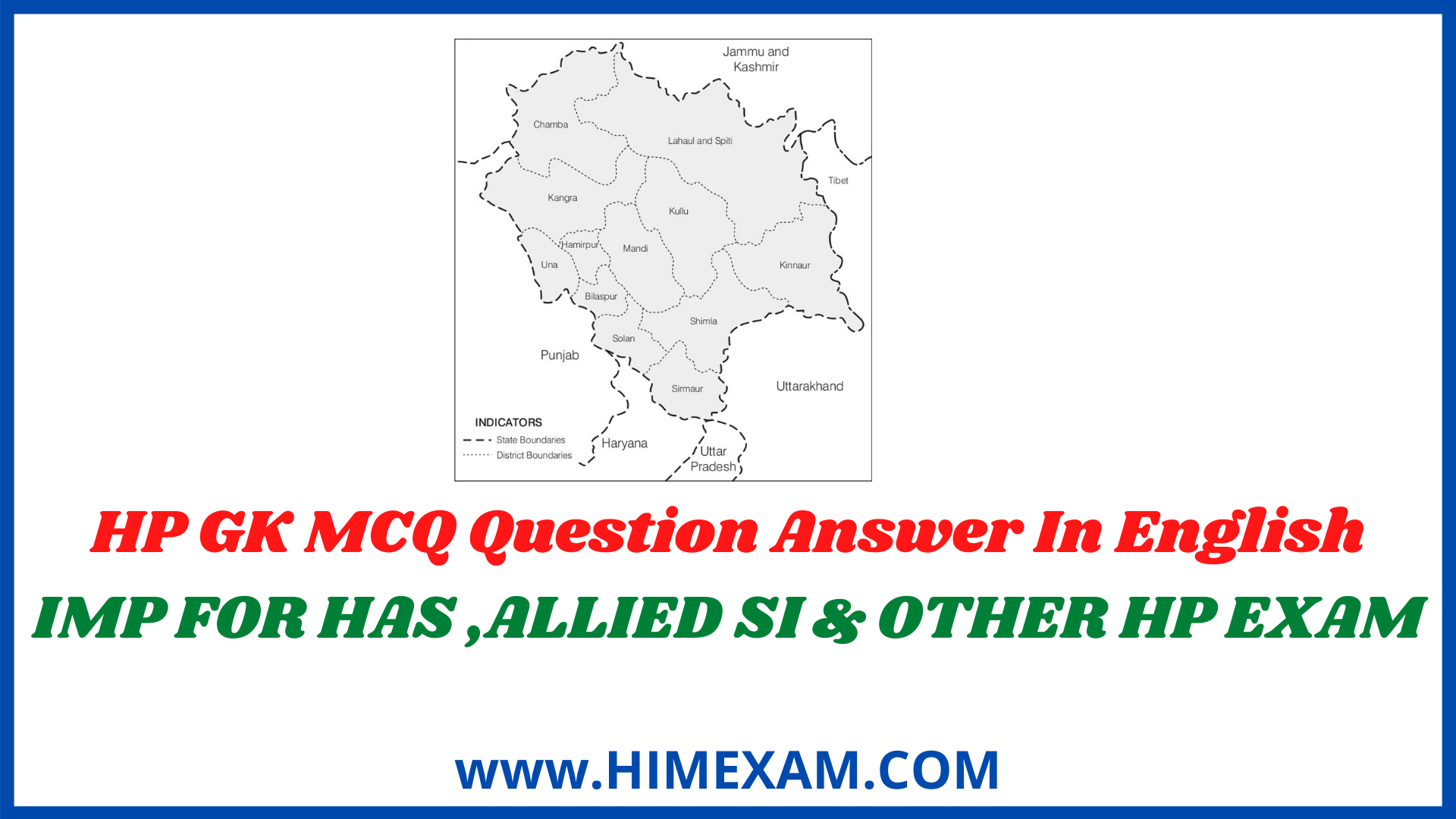 HP GK MCQ Question Answer In English