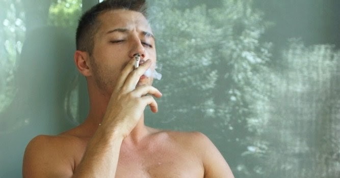 Girl a naked guy smoking cigarette