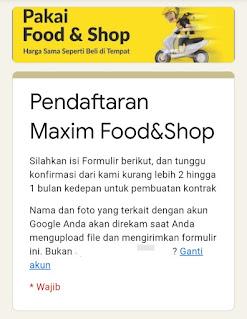 formulir daftar maxim food