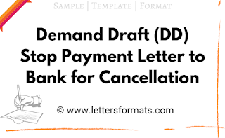 Demand Draft DD stop payment Letter to Bank for cancellation