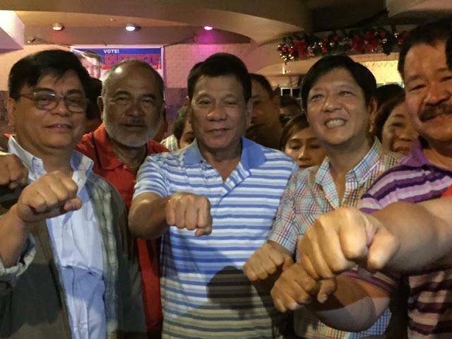 Marcos: Salamat sa aking matalik na kaibigan na si Rody Duterte. Ito ang tunay na walang iwanan