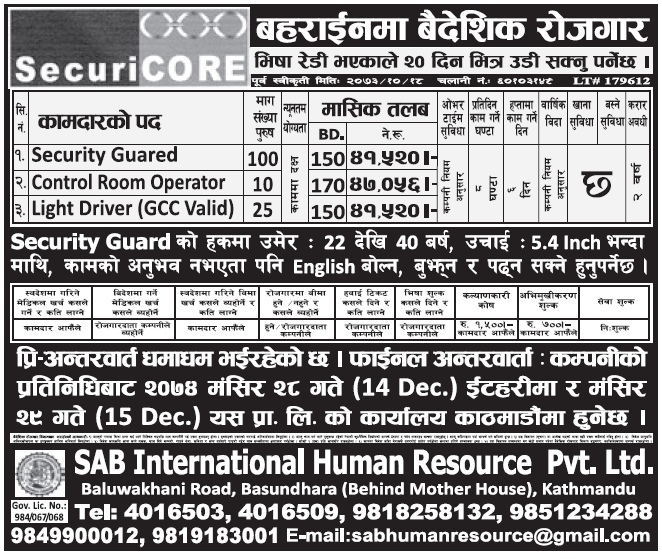 Jobs in Bahrain for Nepali, Salary Rs 47,056