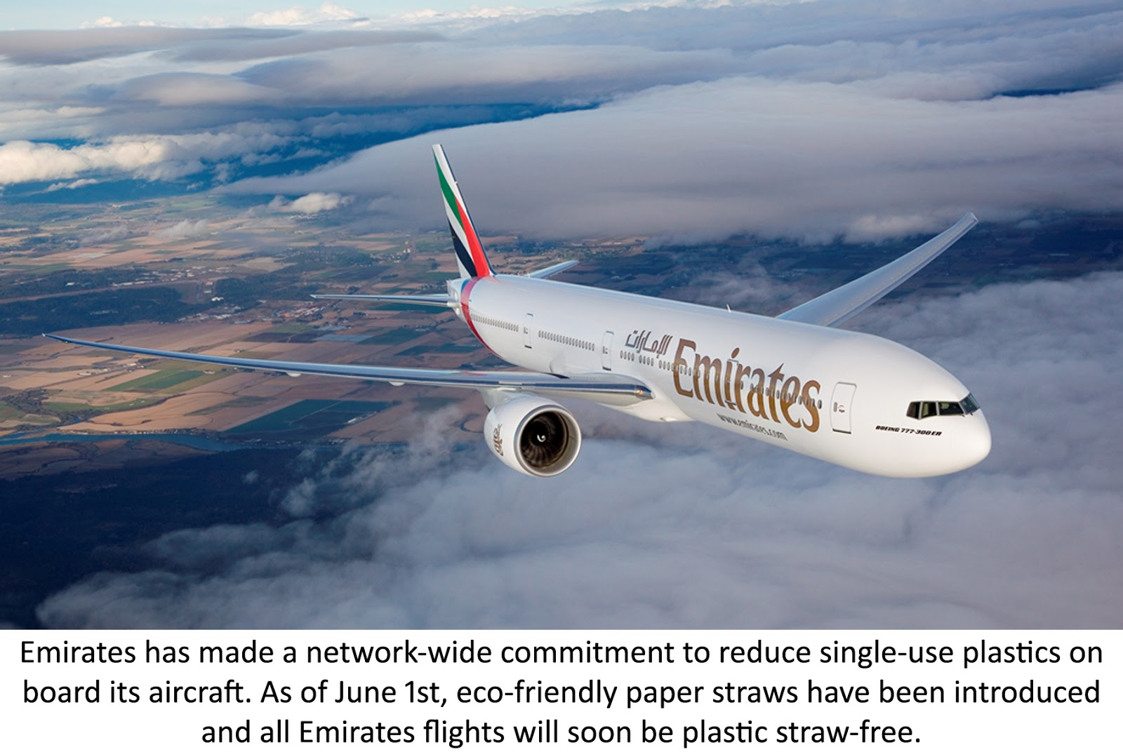 Emirates commits to reducing single-use plastic on board - Eco-friendly paper straws have been introduced this month