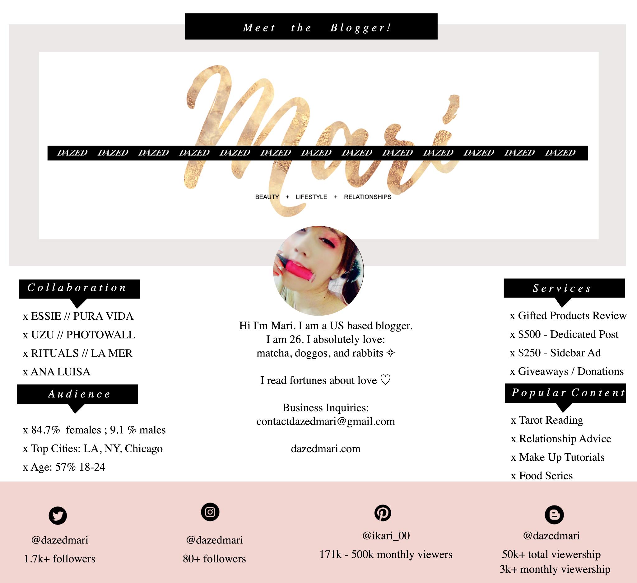 media kit, blogger media kit, collabs, ambassador, audience, popular posts, dazed mari, mari