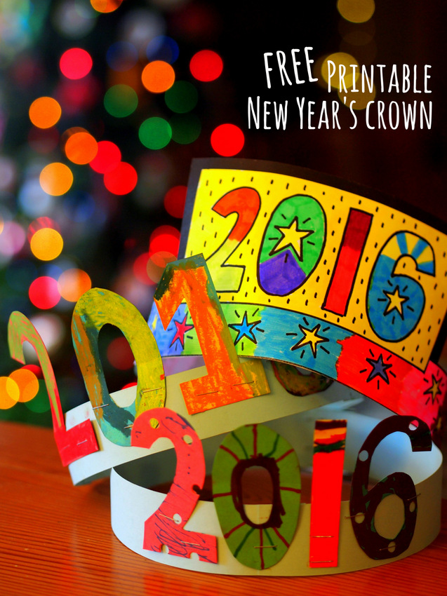 Great 2016 Craft- Make New Years Crowns with kids!  Free printable included for last minute crafting!