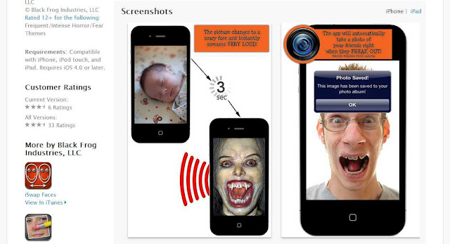 Scary iOS app which let scream photos a loud and changes faces to a ghost like look