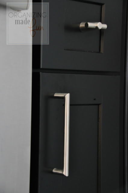 Stainless Steel drawer pulls with black shaker cabinets :: OrganizingMadeFun.com