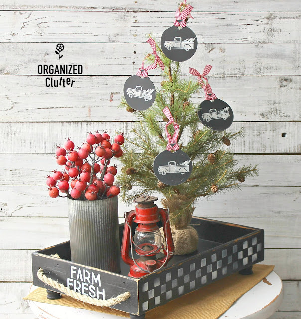 Repurposed/Upcycled Drawer Farmhouse Container Vignette & Tree Ornaments #Christmas #containervignette #farmhouseChristmas #Farmhouse #Checks #stencil #dixiebellepaint
