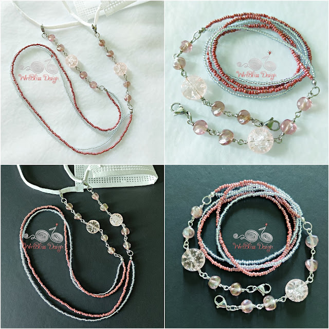 Face Mask Chain with Crackle Glass Beads, Seed Beads and Fire Polished Beads