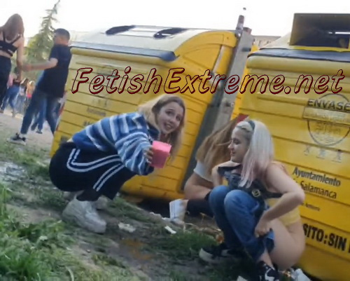 Girls Gotta Go 174 (Pretty drunk spanish girls squatting to pee in public at some big event like a concert or festival)