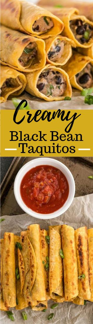 Creamy Black Bean Taquitos #vegetarian