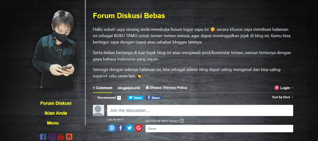 Memanfaatkan Script Komentar Disqus Untuk Membuat Forum Diskusi Pada Blog